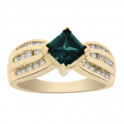 1.00 Carat Princess Cut Alexandrite And Round Cut Diamonds Ring 14K Yellow Gold
