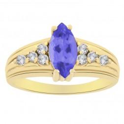 0.90 Carat Marquise Tanzanite and Round Cut Diamond Ring 14K Yellow Gold