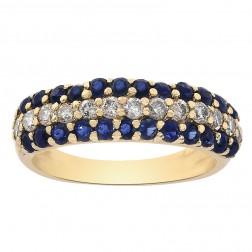 0.50 Carat Round Cut Sapphire 0.20 Carat Diamond Band 14K Yellow Gold