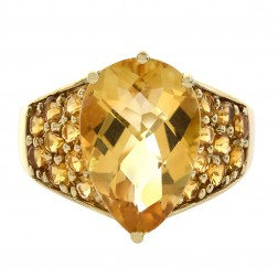 6.10 Carat Pear and Round Cut Citrine Prong Set Gemstone Ring 14K Yellow Gold