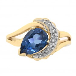 1.50 Carat Pear Cut London Blue Topaz and Round Diamond Ring 14K Yellow Gold
