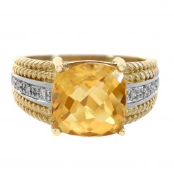 3.00 Carat Cushion Cut Citrine And 0.08 Carat Diamond Ring 14K Two Tone Gold
