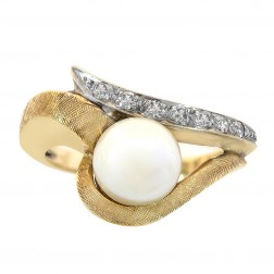 7.25mm Cultured Pearl and Round Cut Diamond Vintage Ring 14K Yellow Gold 4.5gram