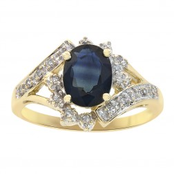 1.55 Carat Blue Sapphire and Diamond Prong Set Ring 14K Yellow Gold