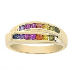 0.70 Carat Multicolor Rainbow Sapphire Womens Ring 14K Yellow Gold