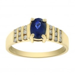 0.90 Carat Oval Cut Sapphire and 0.22 Carat Diamond Ring 14K Yellow Gold