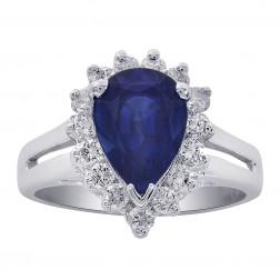 2.25 Carat Pear Cut Sapphire with 0.50 Carat Diamonds 18K White Gold