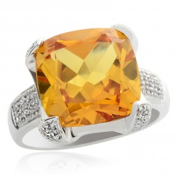 5.55 Carat Citrine with Diamond Ring 14K White Gold