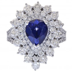 9.50 Carat Pear Shaped Sapphire & Round Diamond Ring 18K White Gold