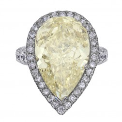 14.99 Carat GIA Certified Fancy Yellow Pear Shape Diamond Engagement Ring in Platinum