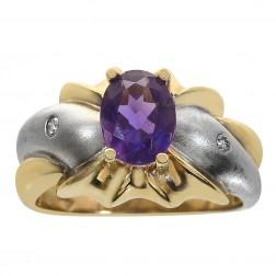 1.50 Carat Oval Cut Amethyst & 0.04 Carat Diamond Ring 14K Two Tone Gold