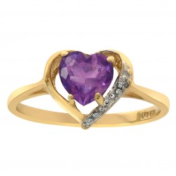 0.75 Carat Amethyst & Diamond Accent Heart Ring 10K Yellow Gold