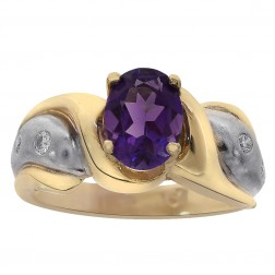1.50 Carat Oval Cut Amethyst & 0.18 Carat Diamond Ring 14K Two Tone Gold