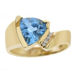 1.55 Carat Blue Topaz & Diamond Art Deco Ring 14K Yellow Gold