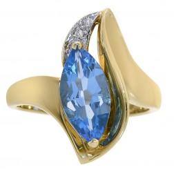 2.02 Carat Marquise Cut Blue Topaz & Round Diamond Ring 14K Yellow Gold