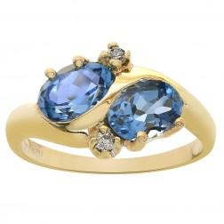1.80 Carat Oval Cut London Blue Topaz & 0.03 Carat Diamond Ring 14K Yellow Gold