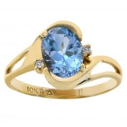 1.50 Carat Blue Topaz & 0.02 Carat Diamond Accent Ring 10K Yellow Gold