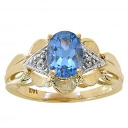 1.52 Carat Oval Cut Blue Topaz & Round Diamond Ring 14K Yellow Gold