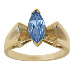 1.00 Carat Marquise Cut Blue Topaz Ring 14K Yellow Gold