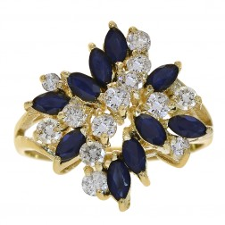 0.90 Carat Sapphire and 0.60 Carat Diamond Cluster Ring 14K Yellow Gold