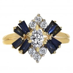 0.40 Carat Sapphire & 0.40 Carat Diamond Vintage Ring 14K Yellow Gold