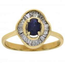 0.50 Carat Oval Cut Sapphire & 0.65 Carat Diamonds Vintage Ring 14K Yellow Gold