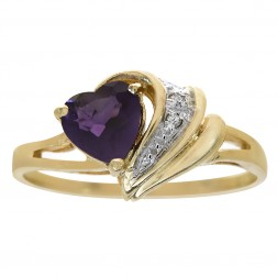 1.00 Carat Heart Cut Amethyst and 0.02 Carat Diamond Accent Ring 14K Yellow Gold