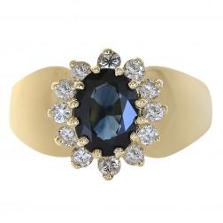 1.35 Carat Sapphire & 0.30 Carat Diamond Ring 14K Yellow Gold
