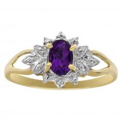 0.50 Carat Amethyst & 0.01 Carat Diamond Accent Vintage Ring 10K Yellow Gold