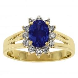 1.00 Carat Oval Cut Sapphire & 0.20 Carat Diamond Vintage Ring 14K Yellow Gold