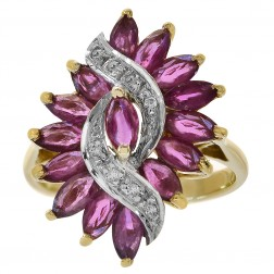 1.00 Carat Ruby & 0.08 Carat Diamond Accent Vintage Ring 14K Yellow Gold