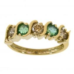 0.40 Carat Emerald & 0.60 Carat Diamond Vintage Ring 14K Yellow Gold