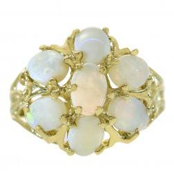 1.50 Carat Opal Flower Style Vintage Ring 14K Yellow Gold
