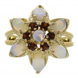 1.20 Carat Opal & Garnet Flower Style Vintage Ring 14K Yellow Gold
