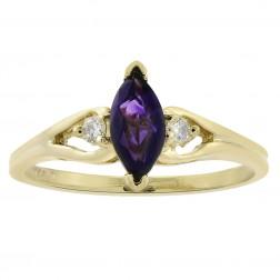 0.50 Carat Marquise Cut Amethyst & 0.05 Carat Diamond Vintage Ring 14K Yellow Gold