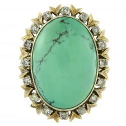 21x15mm Turquoise & 0.40 Carat Diamond Vintage Hand Made Ring 18K Yellow Gold