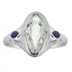 1.15 Carat Aquamarine & 0.20 Carat Sapphire Vintage Ring 14K White Gold