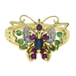 0.10 Ct Sapphire 0.07 Ct Ruby 0.06 Ct Emerald 0.03 Ct Diamond Vintage Butterfly Ring 10K