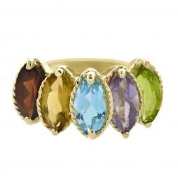 3.50 Carat Garnet Citrine Blue Topaz Amethyst Peridot Multicolor Vintage Ring 14K