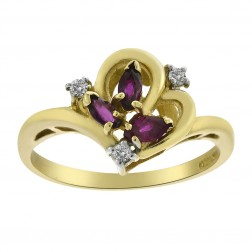 0.05 Carat Diamond Accent and 0.25 Carat Ruby Vintage Ring 14K Yellow Gold