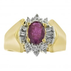 0.85 Carat Ruby And 0.18 Carat Diamond Vintage Ring in 14K Yellow Gold