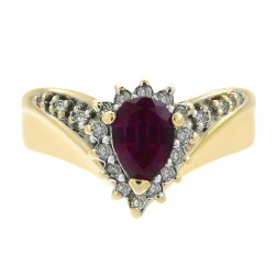 0.70 Carat Simulated Ruby And 0.18 Carat Diamond and in 14K Yellow Gold