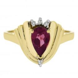 0.90 Carat Pink Tourmaline and 0.03 Carat Diamond Ring in 14K Yellow Gold