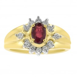 0.50 Carat Ruby And 0.20 Carat Diamond Vintage Ring in 14K Yellow Gold
