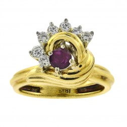0.30 Carat Diamond And 0.20 Carat Ruby Vintage Ring in 18K Yellow Gold