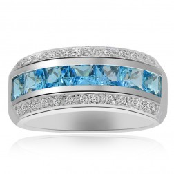 3.22 Carat Princess Cut Blue Topaz with Diamond Cocktail Ring 14K White Gold