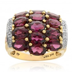 5.50 Carat Oval Cut Rhodolite with Diamond Cocktail Ring 14K Yellow Gold