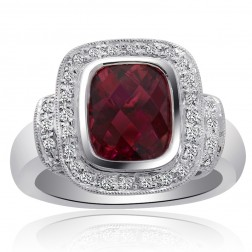 2.95 Carat Pink Tourmaline with Diamond Cocktail Ring 18K White Gold