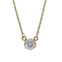 0.90 Carat 5.5mm Cubic Zirconia Pendant Necklace 14K Yellow Gold