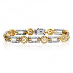 3.00 Carat Round Brilliant Cut Diamond Bracelet 18K Two Tone Gold